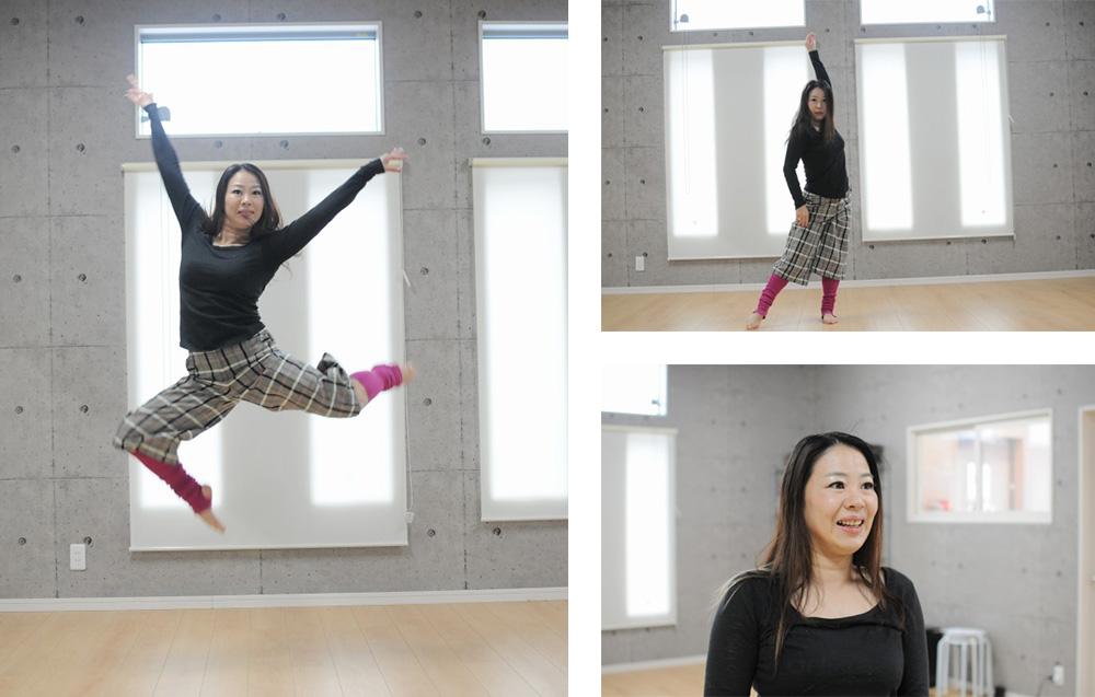 スタジオでダンスを踊る金子先生