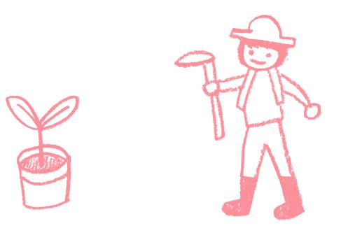 苗木と農作業をする人のイラスト