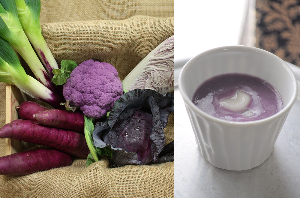 紫の野菜と紫いものココナッツ汁粉